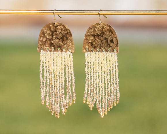 Golden Beaded Fringe Brass Earrings