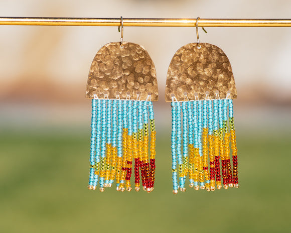 Sunflower Beaded Fringe Brass Earrings