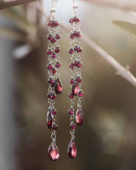 Granada Garnet Earrings ONE OF A KIND