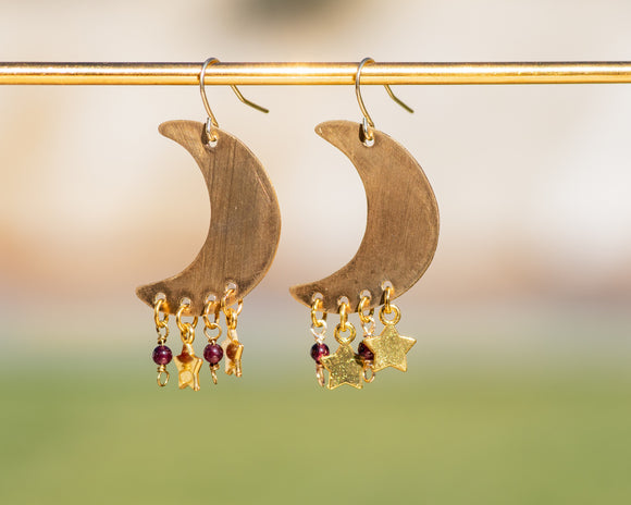 Garnet Starlight Crescent Moon Earrings