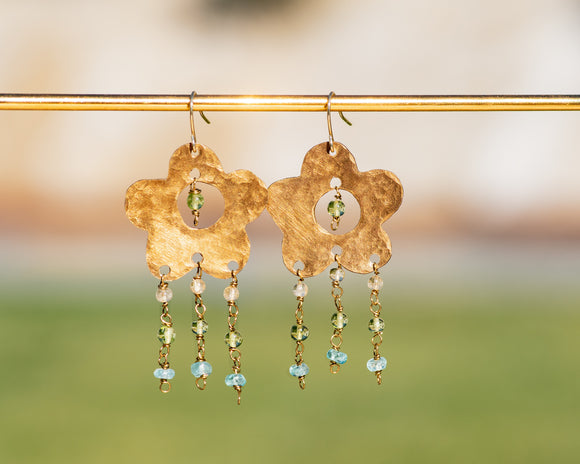 Gemstone Rain Flower Power Earrings