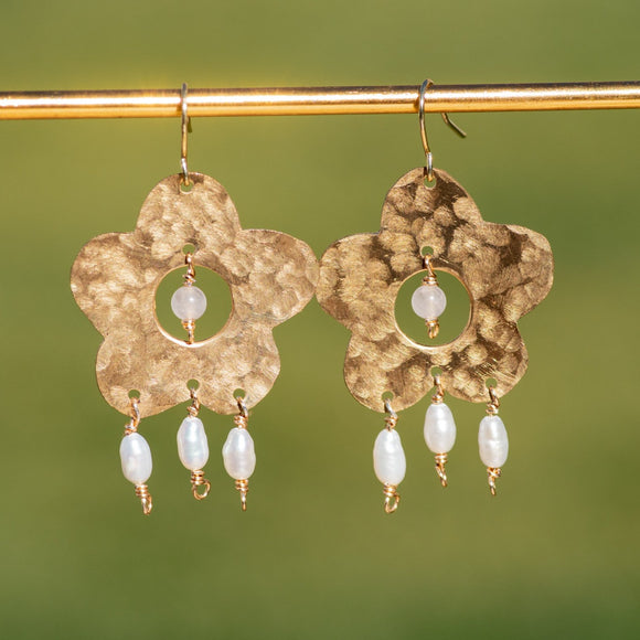 Rose Quartz and Pearl Flower Power Earrings