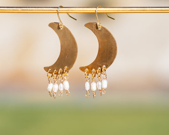Pearl Crescent Moon Earrings