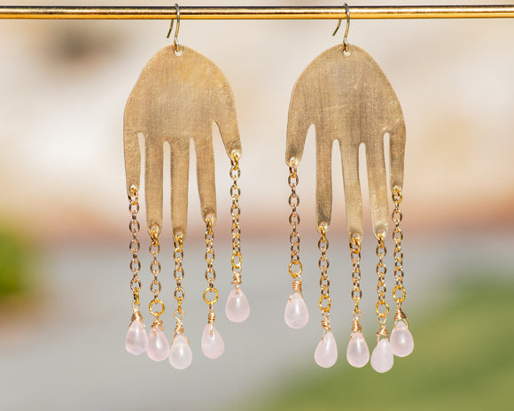 Rose Quartz Hand Earrings