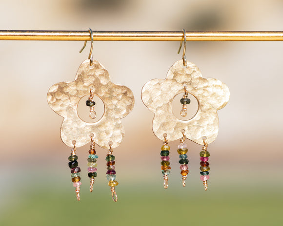 Mixed Tourmaline Flower Power Earrings