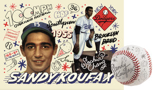 Sandy Koufax by Sophia Chang Silver Embellishments, Autograph & Baseball / Edition of 2