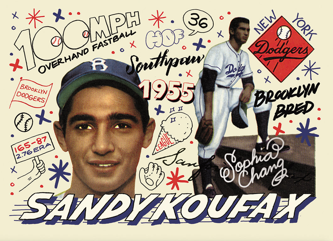 Sandy Koufax  by Sophia Chang Silver Artist Autograph /  Edition of 7
