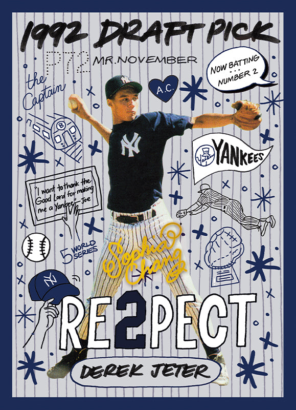 Derek Jeter by Sophia Chang Gold Artist Autograph /  Edition of 10
