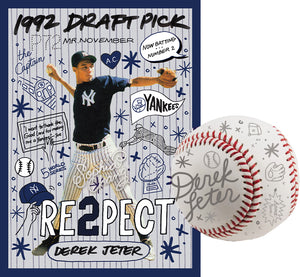 1992 Derek Jeter by Sophia Chang Silver Embellishments, Autograph & Baseball /  Edition of 3