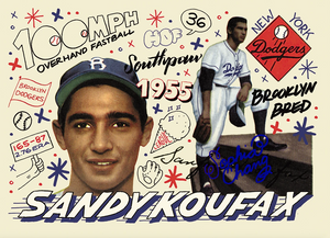 Sandy Koufax by Sophia Chang Blue Artist Autograph  /  Edition of 10
