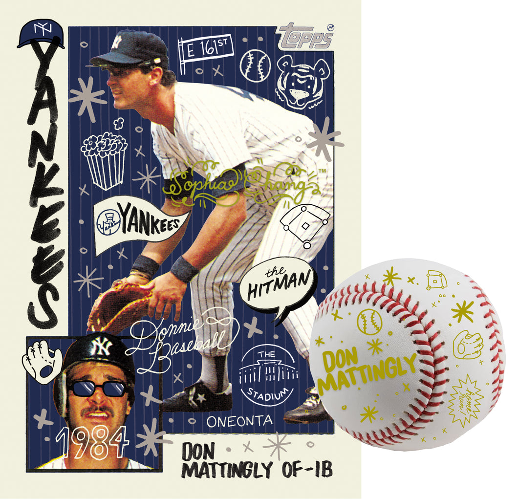 Don Mattingly by Sophia Chang Gold Embellishments, Autograph & Baseball / Edition of 1