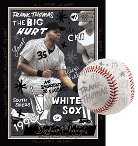 Frank Thomas by Sophia Chang Silver Embellishments, Autograph & Baseball /  Edition of 3