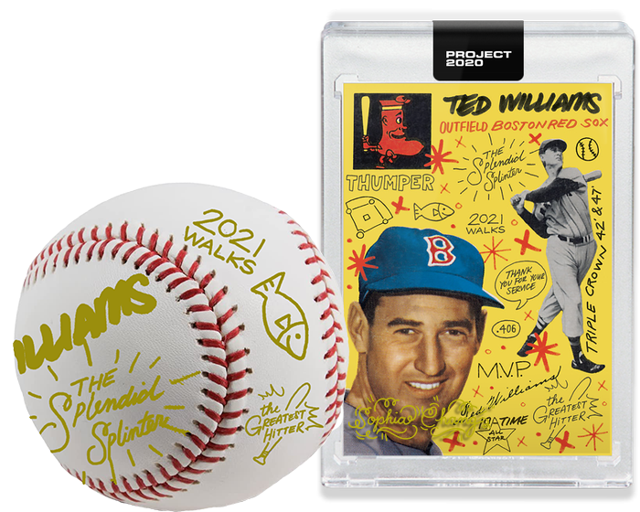 Ted Williams by Sophia Chang Gold Embellished + Ball  /  Edition of 1
