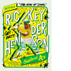 1980 Rickey Henderson by Sophia Chang Color Artist Autograph / Edition of 50