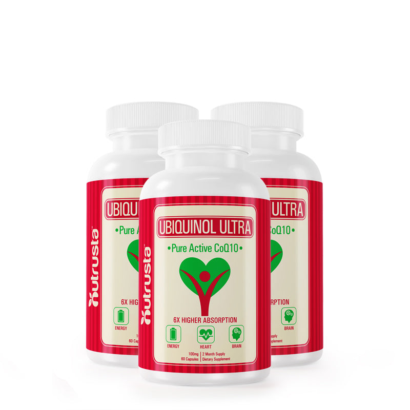 3 Bottles Ubiquinol Ultra - Ubiquinol CoQ10 VESIsorb Kaneka 100mg 6X Absorption, 60 Softgels per Bottle.