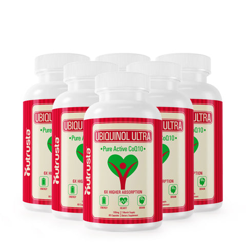 6 Bottles - Ubiquinol CoQ10 VESIsorb Kaneka 100mg 6X Absorption, 60 Softgels per Bottle.