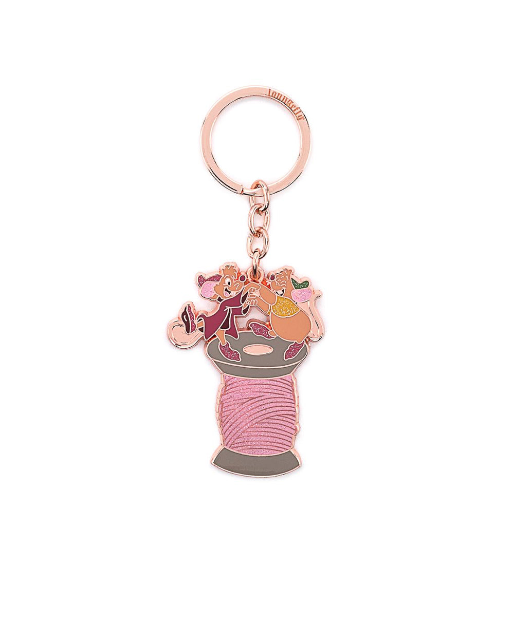 Disney Cinderella Jaq and Gus Spool Enamel Keychain - The Pink a la Mode - Loungefly - The Pink a la Mode