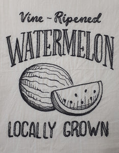 "This vintage farmers market design says ""vine ripened watermelon locally grown"" in a charcoal thread on a white flour sack towel. The centre of the design is a sketch of a whole watermelon and a slice of watermelon."