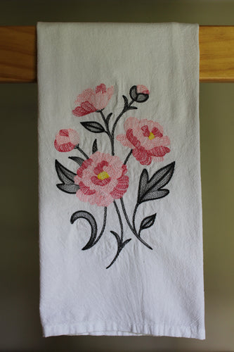 Light and dark pink roses stitched in a sketch style with charcoal leaves and stems