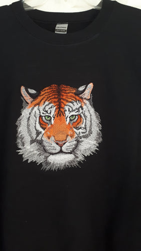 Tiger head embroidered on a black sweatshirt