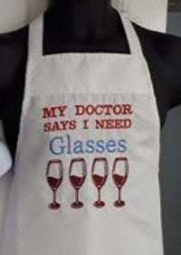 This apron is embroidered with the saying
