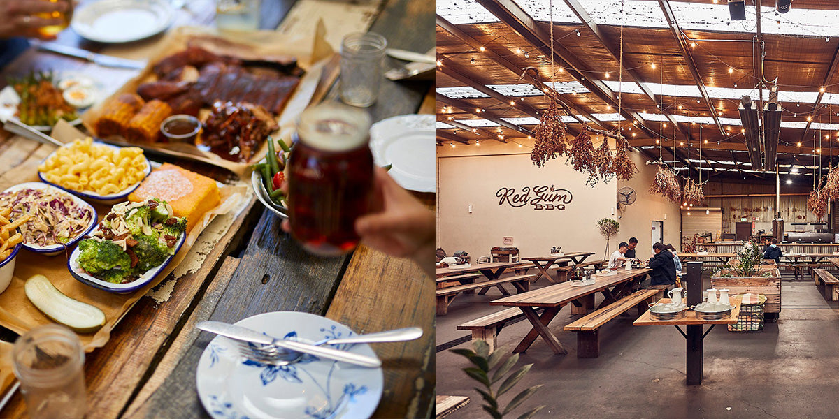 Red Gum BBQ feast and interior dining