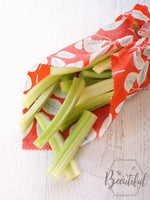 Celery wrapped in beeswax wraps