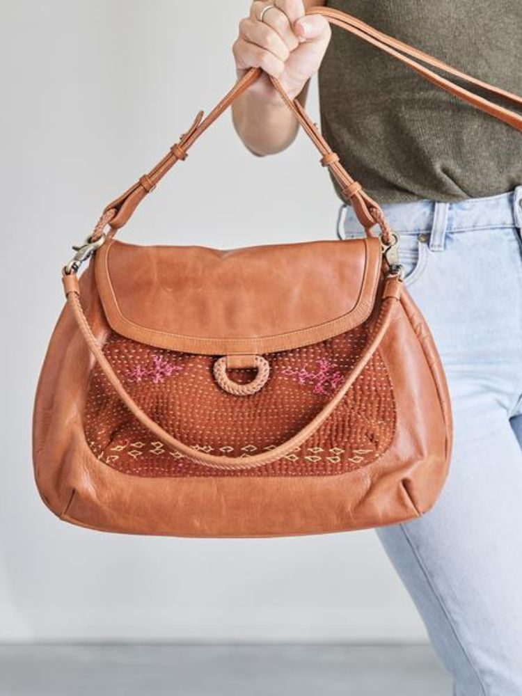 brown leather Bag from the front  with pattern