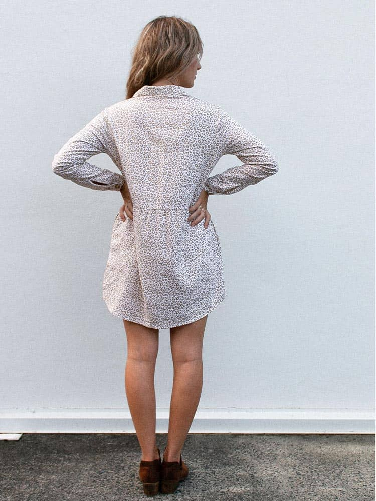 Long sleeved cheetah print above the knee dress with button down front