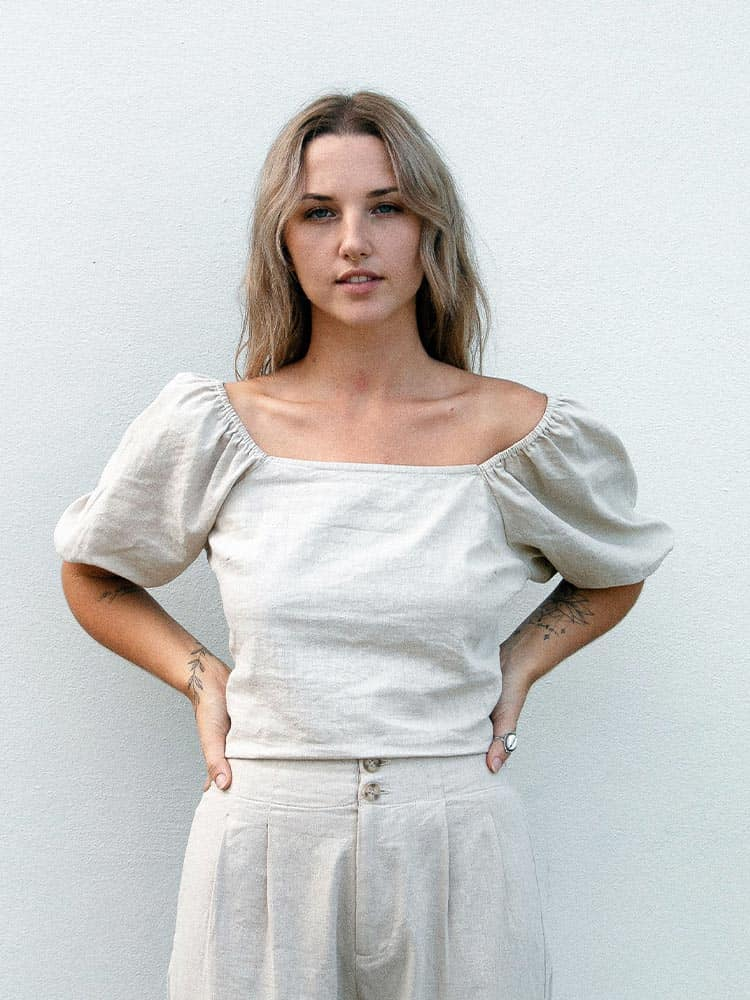 Natural linen off-the-shoulder top with puffy sleeves