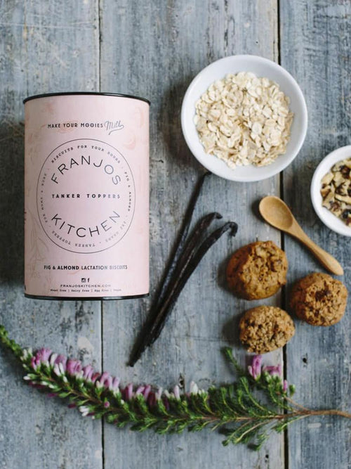 Franjos Kitchen Tanker Topper Biscuits Fig And Almond Flat Lay with oats and vanilla beans