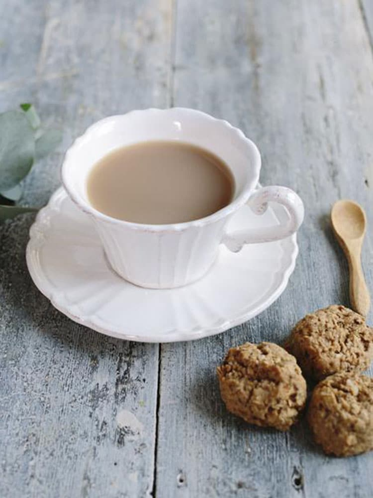 Cup of tea with Franjos Kitchen Tanker Topper Biscuits Fig And Almond