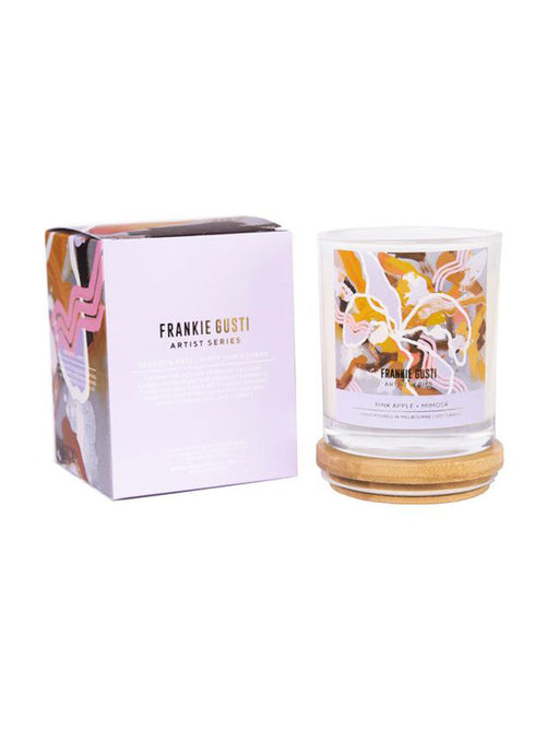 Frankie Gusti Pink Apple and Mimosa candle