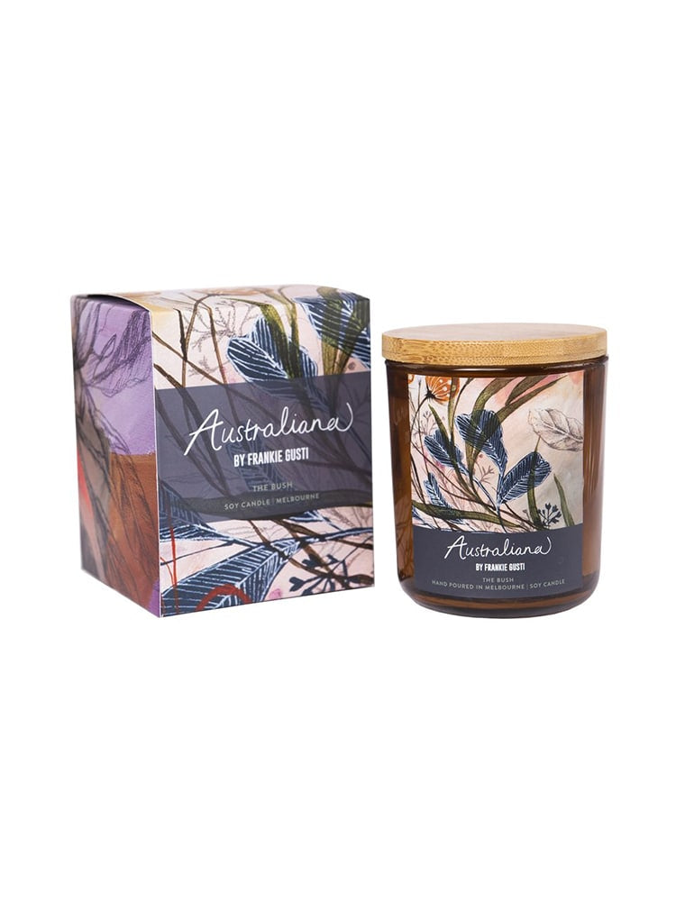 Picture of Frankie Gusti Australiana artwork box and amber jar candle
