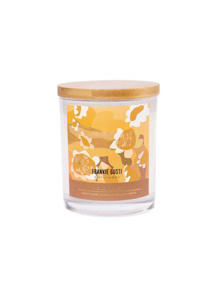 Frankie Gusti glass candle with wooden lid
