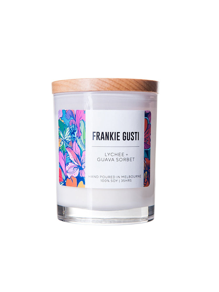 White glass jar with wooden lid with sticker saying Frankie Gusti Lychee and Guava Sorbet