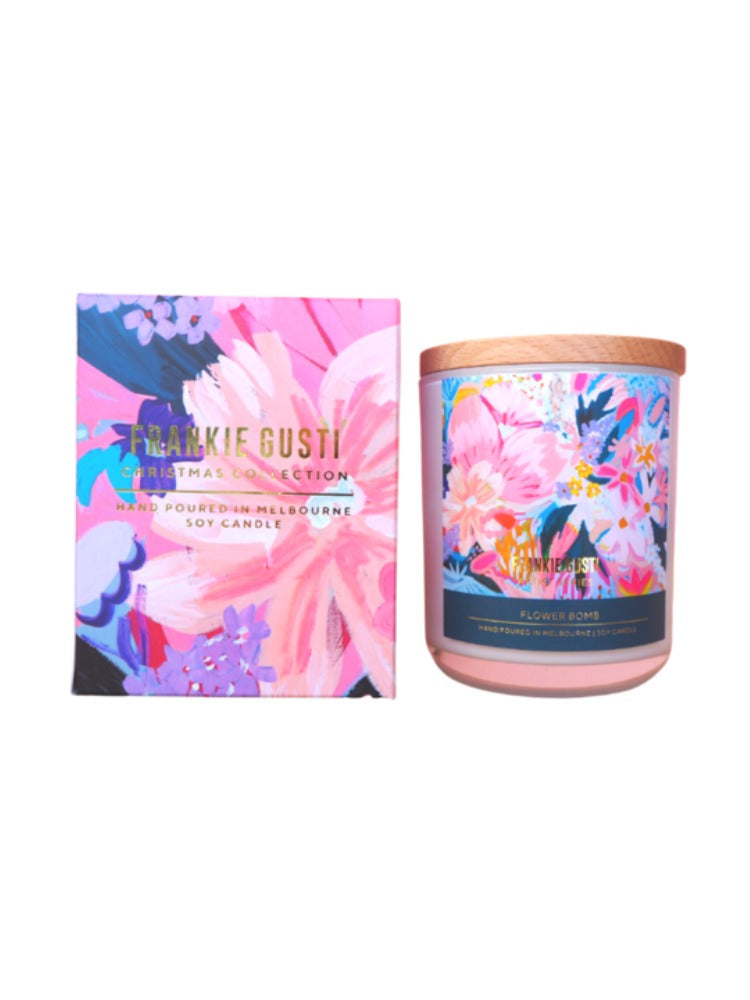Beautiful natural candle with pretty artwork