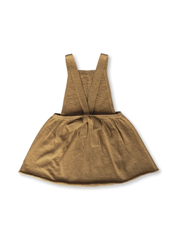 Rear flat lay of a brown knitted girls dress