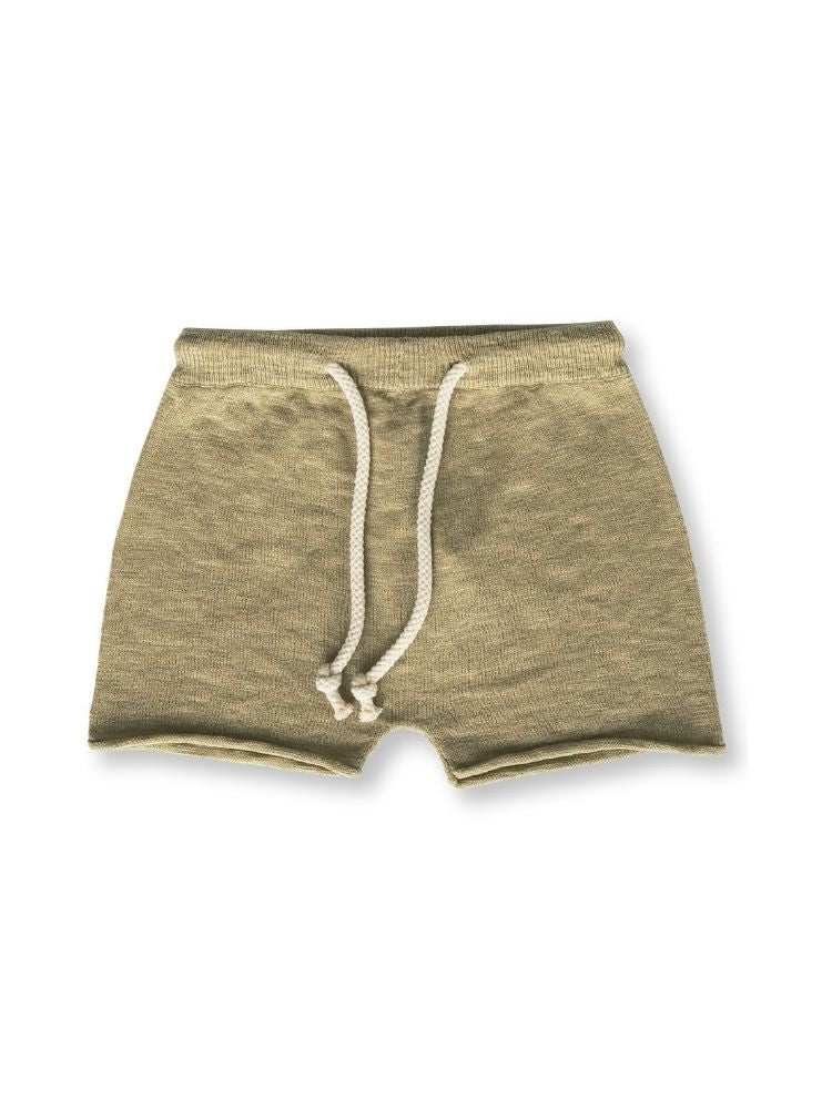 Studio shot of olive coloured organic shorts with rolled hem and cream drawstring