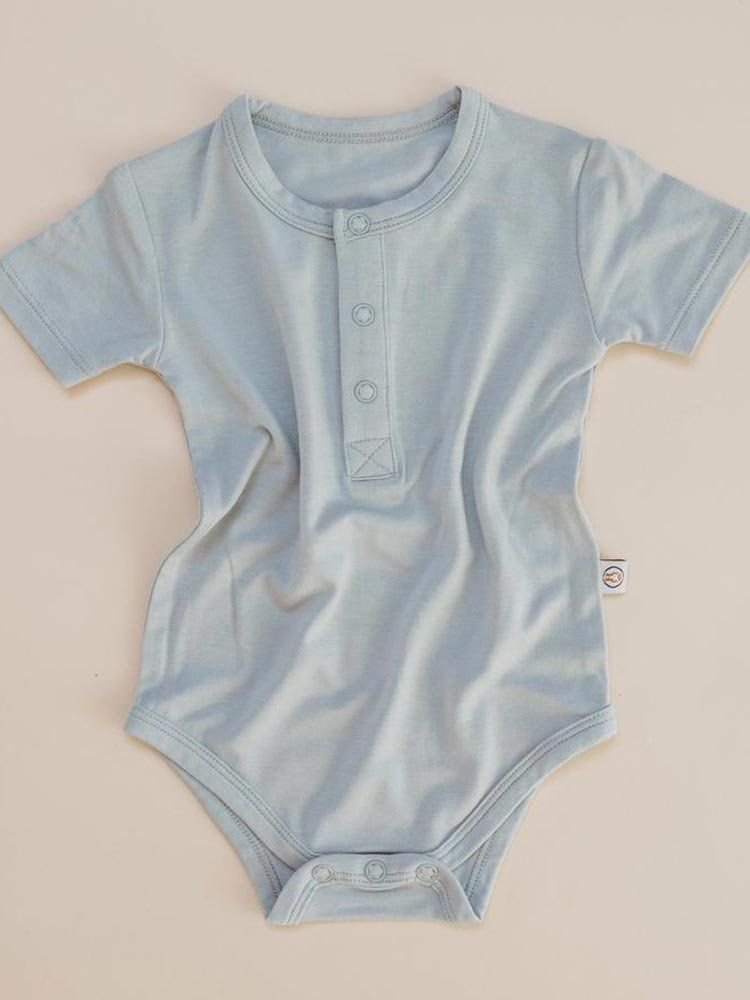 Light blue baby onesie by Halo and Horns