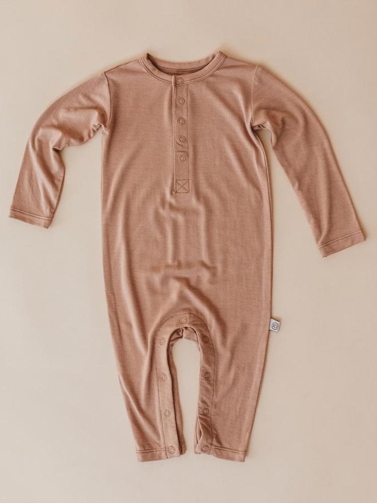 Dusty orange coloured long sleeved baby onesie by Halo and Horns