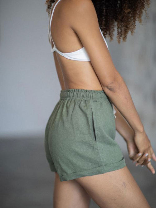 Model wears Indigo Luna Miia Shorts in Kale