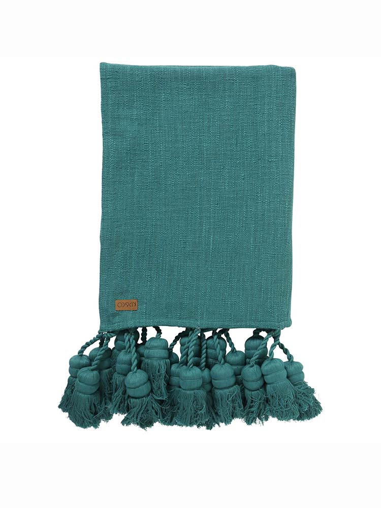 Kip and Co emerald coloured Amazon Tassle Throw