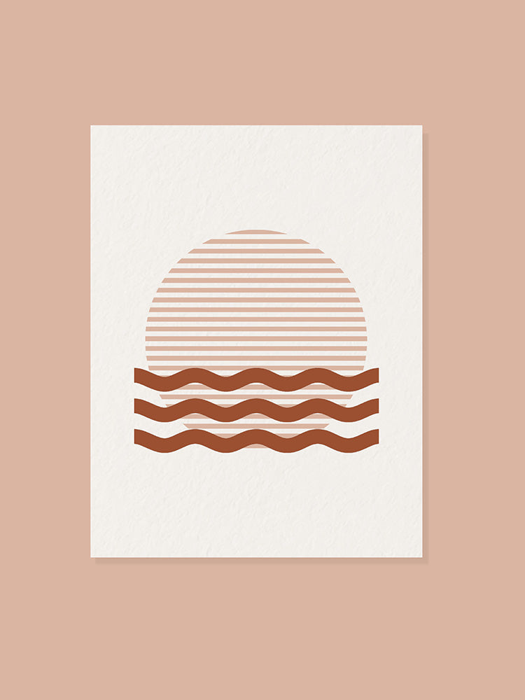 Front of greeting card with sun set and waves graphic