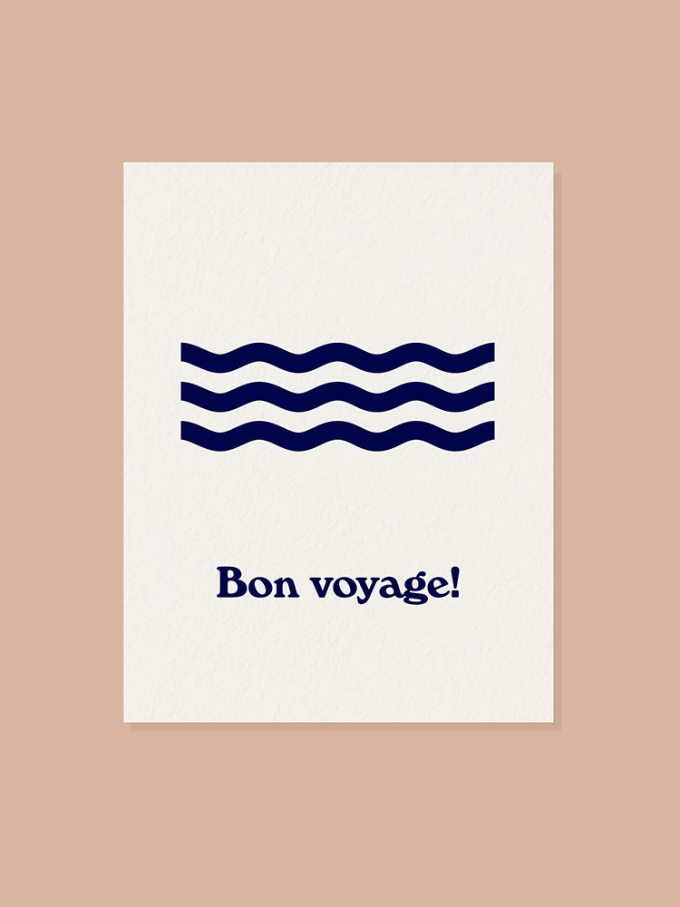 Greeting card with Bon Voyage and waves graphic on the front