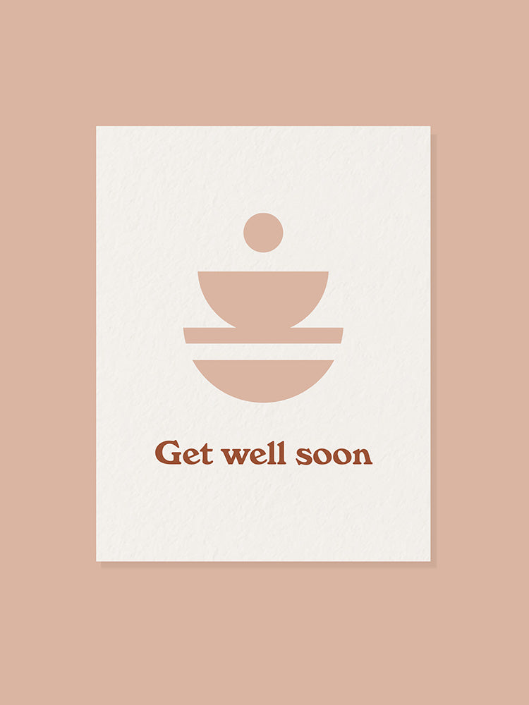 Card with Get Well Soon and bowls graphic