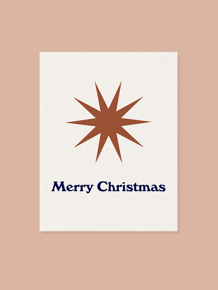 Merry Christmas greeting card with bronze star graphic
