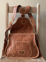 Ovae Adelaide Woven Saddle Bag in Pecan