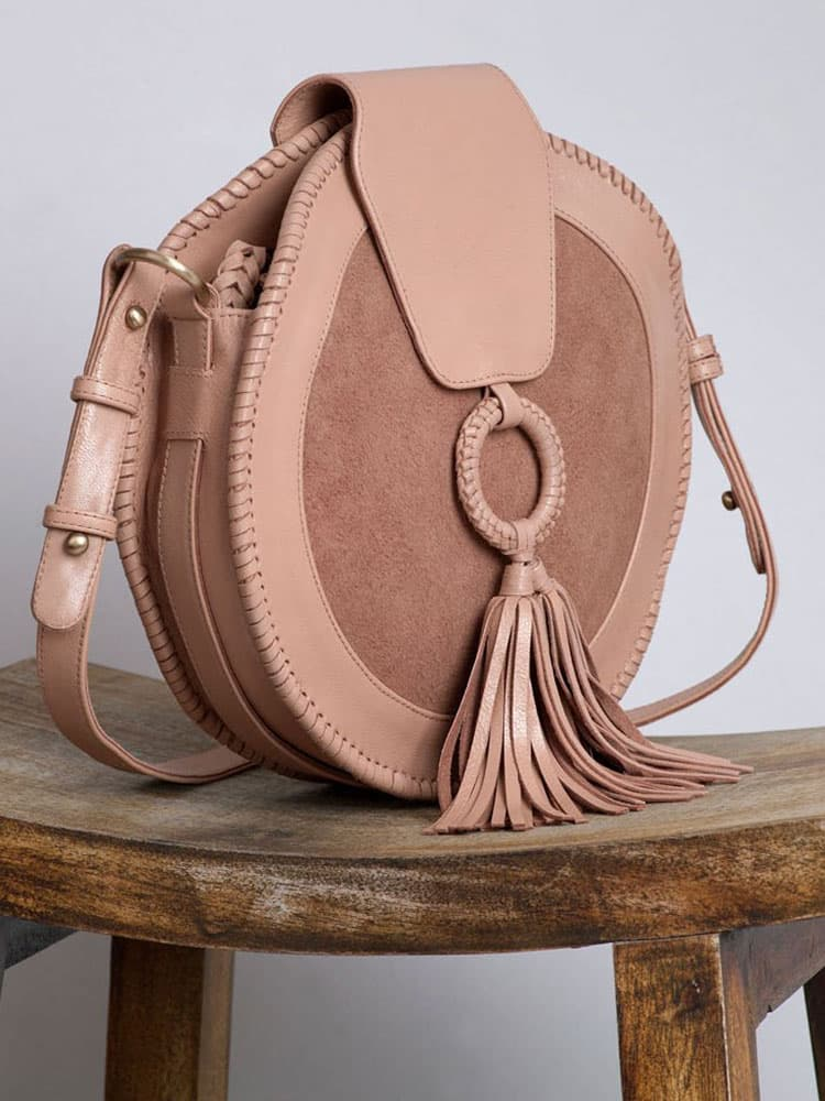 The Ovae Harlequin Leather Round Bag Rose