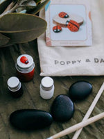Smooth black rocks with paints and calico bag